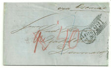 STAMPLESS WRAPPER TO DENMARK LEITH 221 DUPLEX 1858 VIA OSTEND