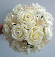 Bridesmaids Posy Bouquet  ivory roses with pearl loops and diamante
