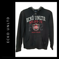 Ecko Unltd Men Hooded Full Zipper Front Sweater Jacket Size Large L Black