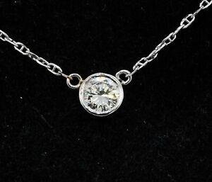 14k white gold 0.75ct VS1-G diamond solitaire pendant necklace 2.92 grams