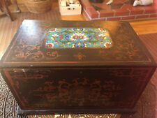 Vintage Chinese Flower Cloisonne Black Gold Lacquer Wood Document Box 12 x 7 x 7