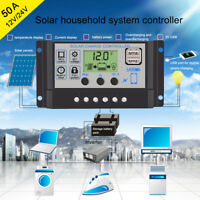 PWM 10A-60A LCD Dual USB Solar Panel Controller Battery Charge Regulator 12V/24V