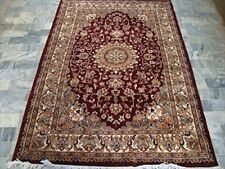 Mehroon Ruby Classic Designed Area Rug Hand Knotted Wool Silk Carpet (6 x 4)'