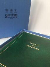 SMYTHSON OF BOND STREET 'SOCIAL & BUSINESS ADDRESS BOOK' GREEN LEATHER GOLD BOX