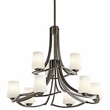 Holton 9 Light Chandelier With Old Bronze Finish with Satin Etched Opal Glass
