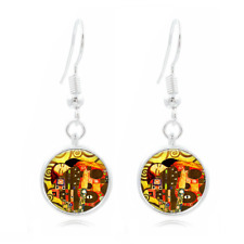 Gustav Klimt Tibet Silver Dome Photo 16MM Glass Cabochon Long Earrings #283