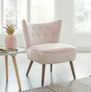Elle Velvet Fabric Modern Wing Back Accent Chair in Blush Pink,Blue,Green,Grey