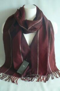 M&S Burgundy Mix Striped Scarf Soft Touch Mens  Brand New Tags