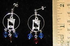 S.S Guillotine Hoop w/ crystals Pierced Earrings
