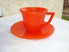 Platonite Orange Child Cup And Saucer by Hazel Atlas