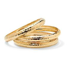 PalmBeach Jewelry 14k Gold-Plated 3-Piece Set Hammered Bangle Bracelet Set 8.5""