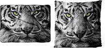 Stunning White Tiger Blanket & Pillow Set Silk touch NEW