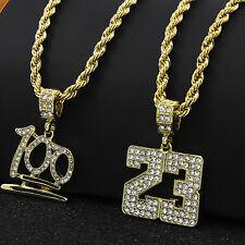 "Mens 14k Gold Plated #23 & Emoji 100 Cz Pendant Set Hip-Hop 24"" Rope Chain D545"