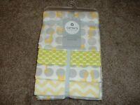 Carters Baby Receiving Blanket 4-Pack Giraffe Dot Yellow Flannel Neutral Set NWT