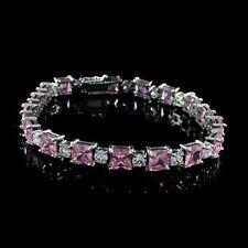 14K White Gold Over Princess Pink Sapphire & DVVS1 Diamond Tennis Bracelet
