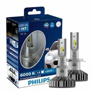NEW PHILIPS 2 PCS H7 6000K +200% 12V 25W X-tremeUltinon LED White Headlight