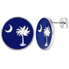 Round Blue Enamel Vacation Sea Palm Moon Stud Beach Earrings Girls Ladies
