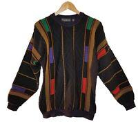VTG 90s TUNDRA Textured Mens Sweater Multi Color Coogi Cosby Biggie Style sz M
