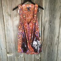 International Concepts Womens Boho Patch Tunic Top Orange Flora Plus 3X New 20A4