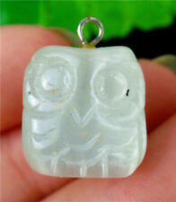 15x14x12mm White Cat Eye Gemstone Carved Owl Pendant Bead BV56723