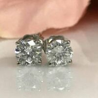 1CT BRILLIANT ROUND CUT DIAMOND STUD GORGEOUS EARRINGS 14K WHITE GOLD FINISH