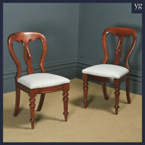 Antique English Victorian Pair Two Mahogany Balloon Spear Back Dining Chairs