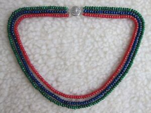 "3 Row Faceted Emerald Ruby & Sapphire Gems Abacus Beads Necklace 17- 19"" - New."