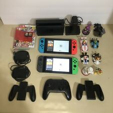 Nintendo Switch HAC-001 Bundle With Games, Pro Controller, Mario Kart Figures.
