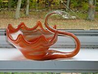 "Vintage Hand Blown Art Glass Swan Bowl Reddish Orange Swirl 7""x11"" (K0 00G)"