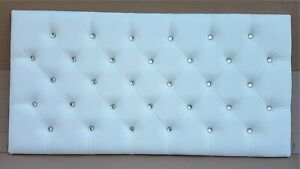 Double 135cm Headboard White Faux Leather with Crystals NEW