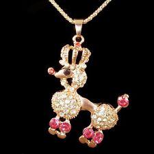 ❤️ Collar con colgante de color de rosa de oro, corona, caniche, caniche rhinestone collar H1