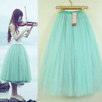 Women Stylish 5 Layers Tutu Skirt Petticoat Knee-Length Length Mini Dress Plain