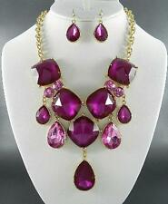 Fuchsia Faceted Lucite Bead Gold Tone Base Bib Necklace Earring Set