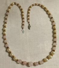 """Vintage Goldtone Metal Faux Pearl Pale Pink Glass Bead 24.5"""" Necklace"""