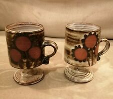 Vintage 1970's Briglin Studio Pottery Pedestal Mugs pair. Sunflower design.