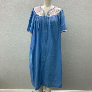 VTG Simply Basic Nightgown Robe Women's L Blue Snap Front V-Neck Short Sleeve