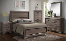 Kings Brand Black / Brown Wood Modern King Size Bedroom Furniture Set