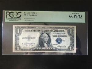 FANCY PCGS GEM 66PPQ QUAD 9s RADAR 1935E $1 SILVER CERTIFICATE SN# P 00 9999 00