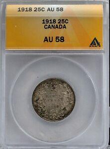 1918 Canada Silver Quarter Very Original Certified ANACS AU 58
