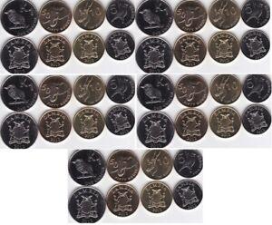 Zambia - 5 pcs x set 4 coins 5 10 50 Ngwee 1 Kwacha 2012 UNC Lemberg-Zp