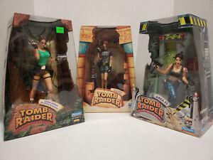 Three Playmates Toys Tomb Raider Lara Croft Figures Area 51, Wetsuit & Jungle!