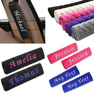 Soft Personalised Car Seat Belt Pad Shoulder Cover Cushion Embroidered Name Kids