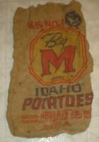 Vintage Big M Brand Idaho Potatoes Advertising Burlap Feed Sack / Bag (A18)