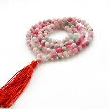 8mm Pink Green Jade Gem Bracelet Tibet Buddhist 108 Prayer Beads Mala Necklace