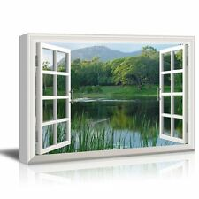 "Canvas Print- Window Frame Style Wall Decor-Clear Lake and Green Trees-24"" x 36"""
