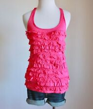 HOLLISTER Abercrombie Scoop Neck Ruffle Tiered Racerback Tank Top Shirt Blouse S