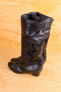 Vintage Original 80er Boots Black Leather + Patent Slouch Disco Boho 38,5