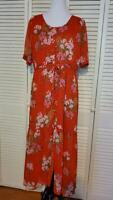 Who What Wear Red Floral Maxi Dress Short Sleeve Ruffled Prairie Style Size XL