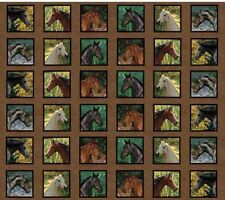 Endless Summer Breeze - Brown Black White Horses Horse Frame Quilt Cotton fabric