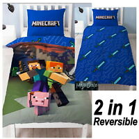 MINECRAFT SINGLE DUVET COVER SET NEW & OFFICIAL GOOD GUYS